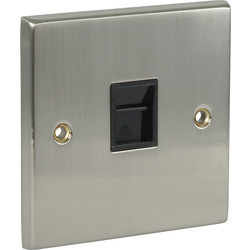 Satin Chrome / Black Telephone Socket Slave - 78706 - from Toolstation