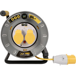 Masterplug Masterplug Pro XT 2 Socket 16A Metal Open Cable Reel 30m 110V - 78860 - from Toolstation