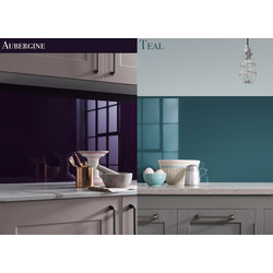 AluSplash AluSplash Splashback 800 x 600mm Aubergine/Totally Teal - 79329 - from Toolstation