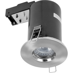 Meridian Lighting LED 5W COB Fire Rated IP65 GU10 Downlight Satin Chrome 330lm - 79391 - from Toolstation