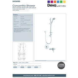 Deva Vision Concentric Shower Valve with 5 Function Kit