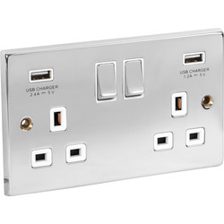 Chrome USB Switched Socket 13A 2 Gang + 2 USB - 79701 - from Toolstation