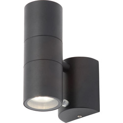 Zinc Leto Black Stainless Steel Up and Photocell Down Wall Light IP44 GU10 2 x 35W Max - 79973 - from Toolstation