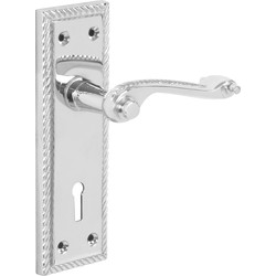 Hiatt Georgian Scroll Door Handles Lock Polished - 80054 - from Toolstation