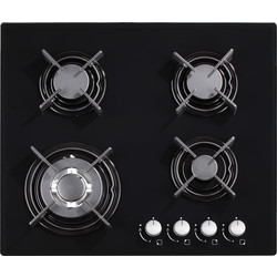 Culina 60cm Black Glass Gas Hob Wok Burner