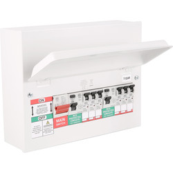 MK MK Metal 17th Edition Amendment 3 High Integrity Dual RCD + 6 MCBs Consumer Unit 6 Way - 80081 - from Toolstation