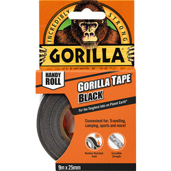 Gorilla Cloth Duct Tape Black 25mm x 9.14m