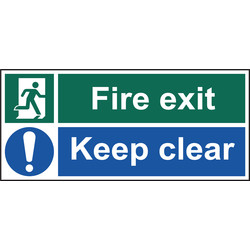 Fire Safety Sign Fire Exit Keep Clear 450x200 - 80341 - from Toolstation