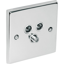 Chrome TV / Satellite Socket Outlet Satellite/TV/FM - 80424 - from Toolstation