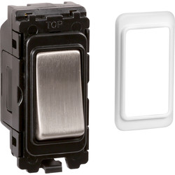 Wessex Wiring Wessex Brushed Stainless Steel Grid Switch Retractive - 80588 - from Toolstation