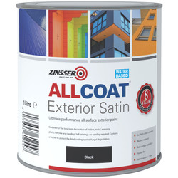 Zinsser Zinsser Allcoat Exterior Satin Paint Black 1L - 80614 - from Toolstation