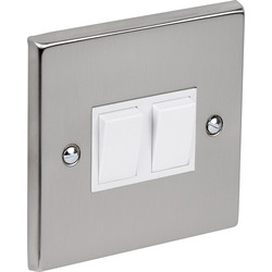Satin Chrome / White Switch 10A 2 Gang 2 Way - 80617 - from Toolstation