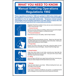 RPVC 400x600mm Safety Poster Manual Handling Regulations - 80707 - from Toolstation
