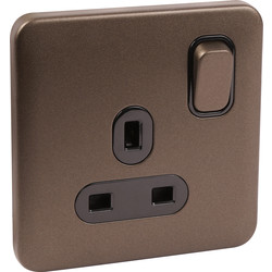 Schneider Electric Schneider Electric Lisse Mocha Bronze Screwless 13A DP Switched Socket 1 Gang - 80950 - from Toolstation