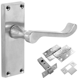 Jedo Victorian Scroll Satin Handle Latch Door Pack - 81070 - from Toolstation