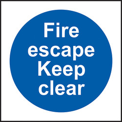 Fire Safety Sign Fire Escape Keep Clear - 81216 - from Toolstation