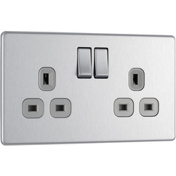 Screwless Flat Plate Brushed Stainless Steel 13A DP Switch Socket