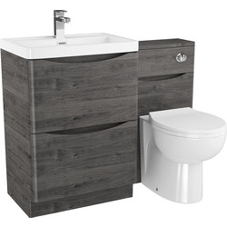 Cassellie 2 Drawer Curve Bathroom Unit Graphite Oak - 81441 - from Toolstation