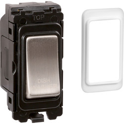 Wessex Wiring Wessex Brushed Stainless Steel Grid Switch 20A DP Dishwasher - 81575 - from Toolstation