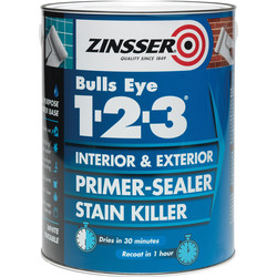 Zinsser Zinsser Bulls Eye 123 Primer Sealer Paint White 2.5L - 81738 - from Toolstation