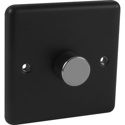 Wessex Electrical Wessex Matt Black Dimmer Switch Chrome 1 Gang 400W - 81849 - from Toolstation