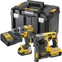 DeWalt DeWalt 18V XR Brushless Combi & SDS Twin Kit 2 x 5.0Ah - 81878 - from Toolstation