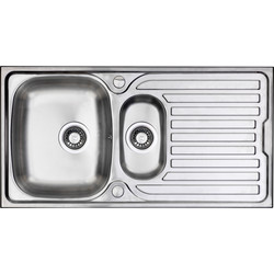 Maine Stainless Steel 1 1/2 Bowl Kitchen Sink & Drainer 965 x 500 x 165mm Deep - 81940 - from Toolstation