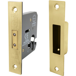 Euro Profile Mortice Deadlock 75mm Electro Brass - 82071 - from Toolstation