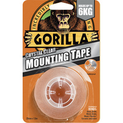 Gorilla Glue Gorilla Double Sided Mounting Tape 25.4mm x 1.52m - 82230 - from Toolstation