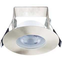 Integral LED Integral LED 3.8W Evofire+ IP65 Integrated Fire Rated Dimmable Downlight Satin Nickel 400lm Cool White - 82235 - from Toolstation