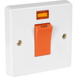 Crabtree Crabtree 45A DP Cooker Switch 1 Gang Neon - 82363 - from Toolstation