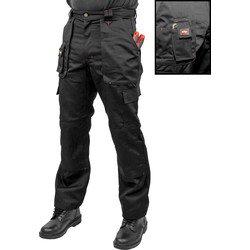 "Lee Cooper Lee Cooper Heavy Duty Multi Pocket Work Trousers 32"" R Black - 82391 - from Toolstation"