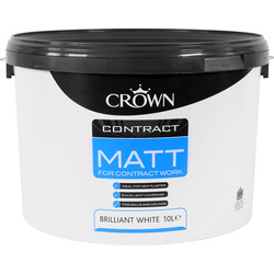 Crown Contract Matt Emulsion Paint 10L Brilliant White