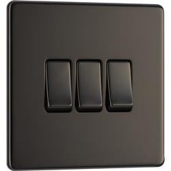 BG BG Screwless Flat Plate Black Nickel 10AX Light Switch 3 Gang 2 Way - 82464 - from Toolstation