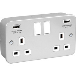 Metal Clad USB Switched Socket 13A 2 Gang + 2 USB