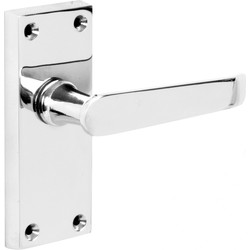 Hiatt Victorian Straight Door Handles Short Latch Polished - 83224 - from Toolstation