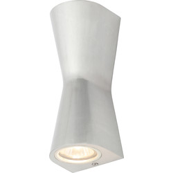 Zinc Skye Double Cone IP44 GU10 Wall Light 2 x GU10 Stainless Steel - 83225 - from Toolstation