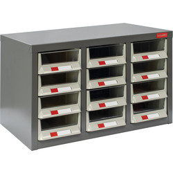Barton Small Parts Steel Cabinet without Doors 12 Drawers - 350 x 586 x 290mm - 83242 - from Toolstation