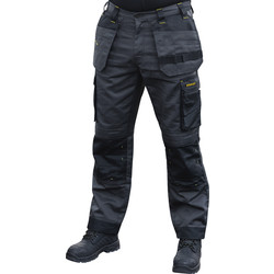 "Stanley Stanley Austin Stretch Holster Pocket Trousers 32"" R Grey/Black - 83428 - from Toolstation"
