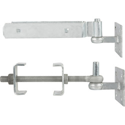 "GateMate GATEMATE Field Gate Adjustable Hinge Set/Hooks on Plate 12"" (300mm) Galvanised - 83708 - from Toolstation"