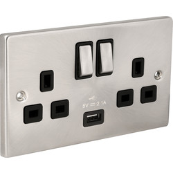 Click Deco Click Deco Satin Chrome  USB Switched Socket 1 x 2.1A USB - 83740 - from Toolstation