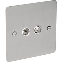 CED Flat Plate Satin Chrome Satellite Socket Outlet Satellite/TV - 84145 - from Toolstation