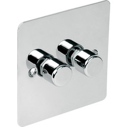 Flat Plate Polished Chrome Dimmer Switch 250W 2 Gang 2 Way - 84383 - from Toolstation