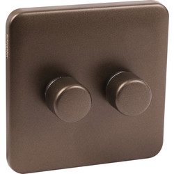 Schneider Schneider Lisse Mocha Bronze Screwless Dimmer 2 Gang 2 Way 250W - 84443 - from Toolstation