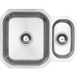 Maine Undermount 1 1/2 Bowl Kitchen Sink 594 x 460 x 195mm Deep - 84541 - from Toolstation