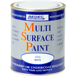Bedec Multi Surface Paint Satin White 750ml