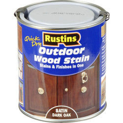 Rustins Quick Dry Outdoor Wood Stain Dark Oak 500ml