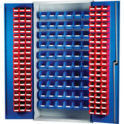 Barton Barton Louvred Panel Cabinet 2000 x 1015 x 430mm with 120 TC2 Red & 60 TC3 Blue Bins - 85150 - from Toolstation
