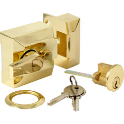 Deadlocking Nightlatch Brass Narrow