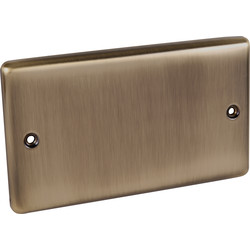 Wessex Electrical Antique Brass Blank Plate 2 Gang - 85310 - from Toolstation